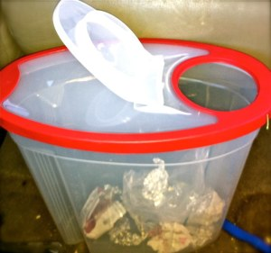 cereal container as trash can